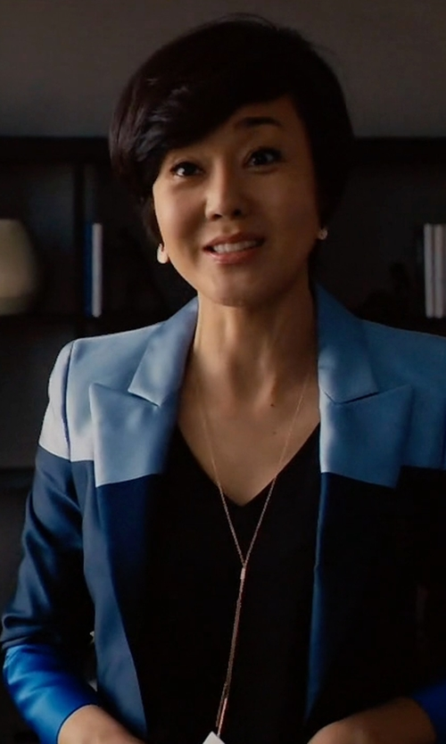 Yunjin Kim with Escada One-Button Colorblock Jacket in Mistresses