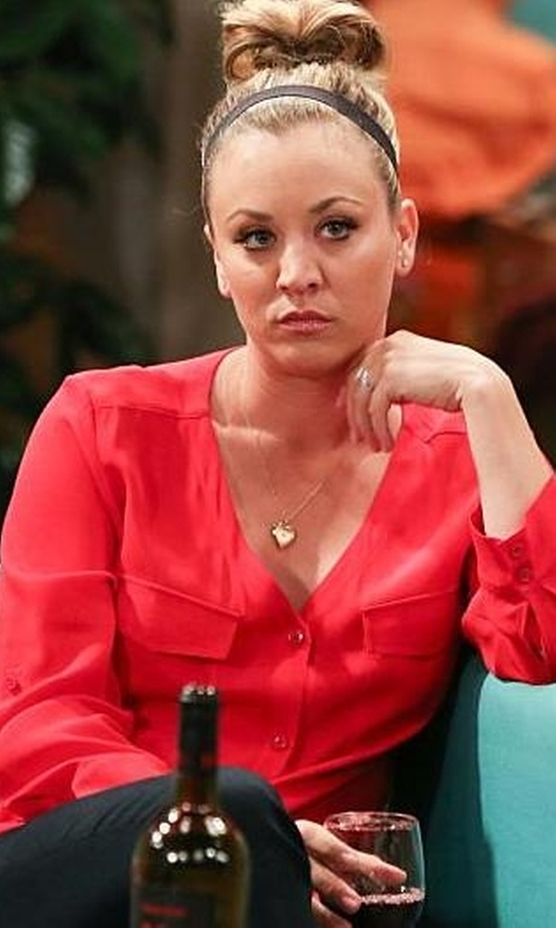 Kaley Cuoco-Sweeting with Yest Red Silky Blouse in The Big Bang Theory