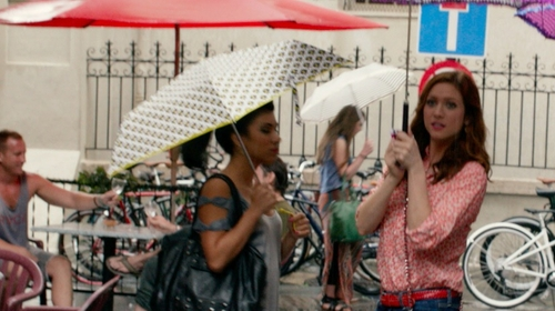 Chrissie Fit with SuperCute Hearts Umbrella in Pitch Perfect 2