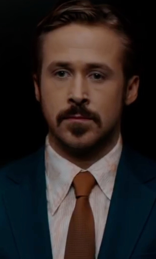 Ryan Gosling with Anto Beverly Hills Custom Made Paisley Print Button Shirt in The Nice Guys