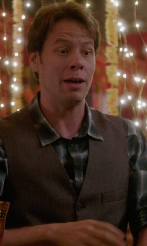 Ike Barinholtz with Ralph Lauren Merino Wool Tick-Weave Vest in The Mindy Project