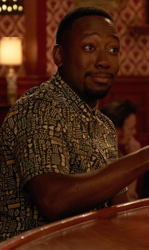 Lamorne Morris with CPO Geo Print Button-Down Shirt in New Girl