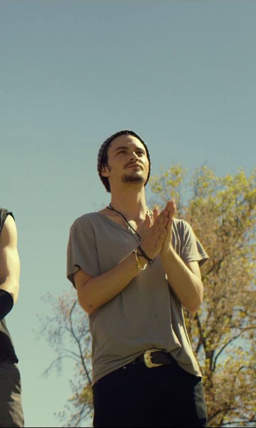 Shiloh Fernandez with M.Cohen Three-Layer Twisted Cord Carved Cuff Bracelet in We Are Your Friends