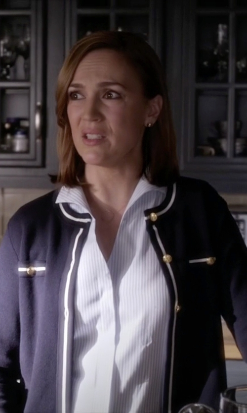 Lesley Fera with Karen Scott Solid Knit Cardigan in Pretty Little Liars