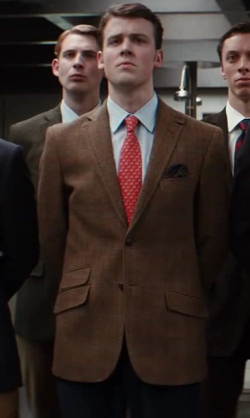 Matt Hookings with Salvatore Ferragamo Hummingbird Print Silk Tie in Kingsman: The Secret Service