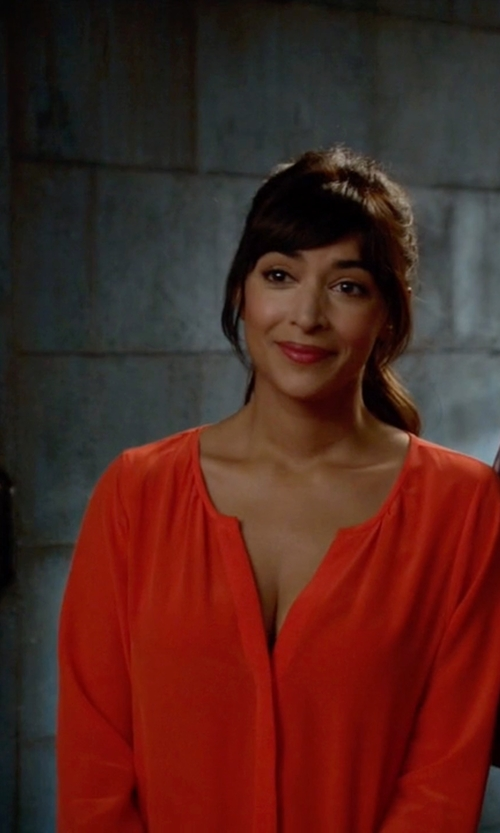 Hannah Simone with Joie  Rialto Silk Jumpsuit in New Girl