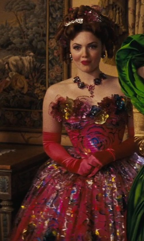 Holliday Grainger with Sandy Powell (Costume Designer) Custom Made Pink Floral Tacky Ball Gown (Anastasia) in Cinderella