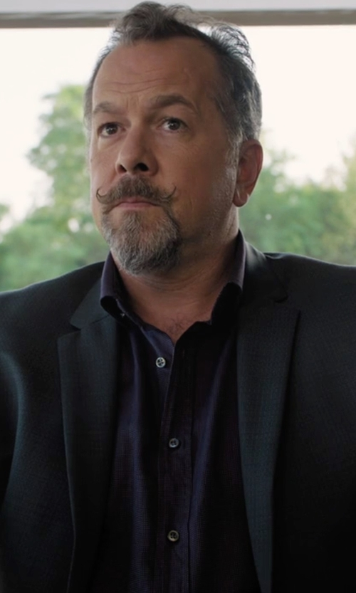 David Costabile with Piattelli Poplin Dress Shirt in Billions