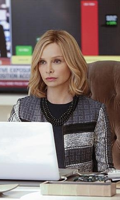 Calista Flockhart with Scervino Street Single Breasted Blazer in Supergirl
