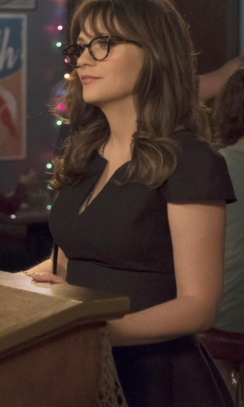 Zooey Deschanel with Eight Sixty Short Sleeve Midi Dress in New Girl