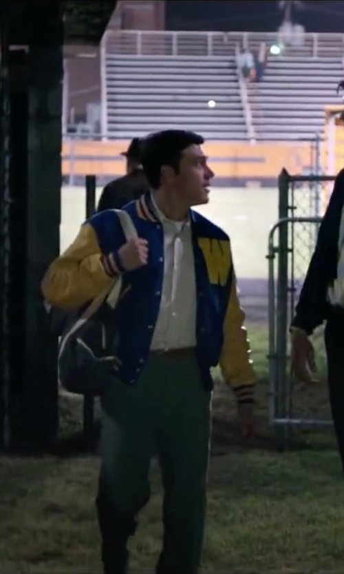 Finn Wittrock with Stewart & Strauss Letterman Jacket in My All American
