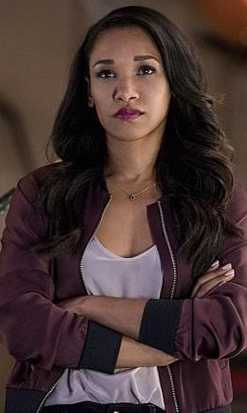 Candice Patton with Topshop Dolman Sleeve Satin Bomber Jacket in The Flash
