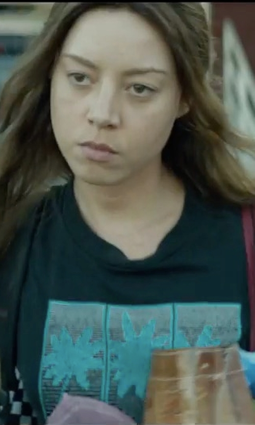Aubrey Plaza with Misbhv Logo Printed Cotton Jersey T-Shirt in Ingrid Goes West
