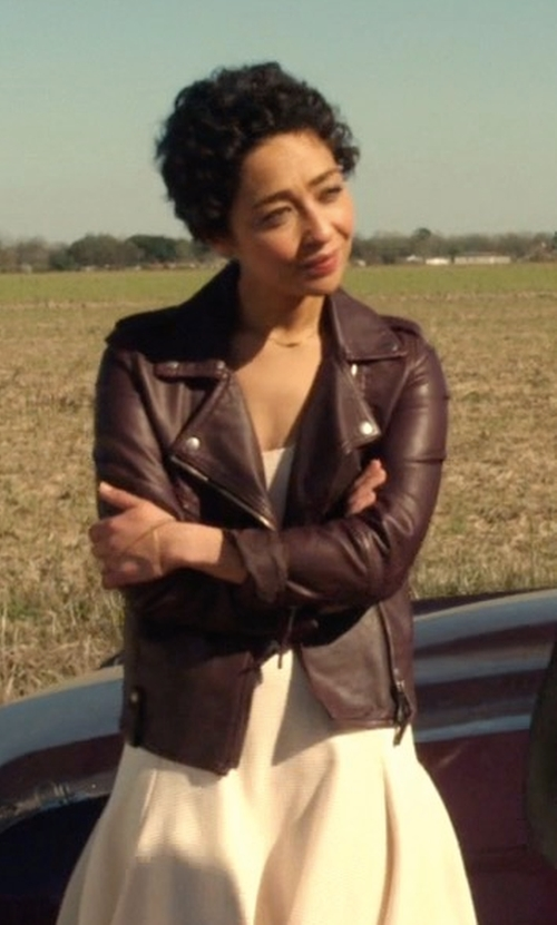 Ruth Negga with Rachel Roy Faux Leather Moto Jacket in Preacher