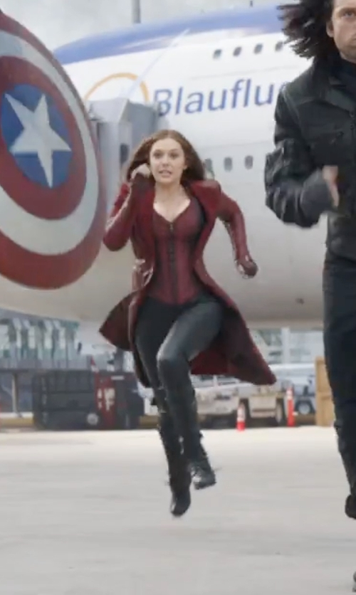 Elizabeth Olsen with Yves Saint Laurent Vintage Long Coat in Captain America: Civil War