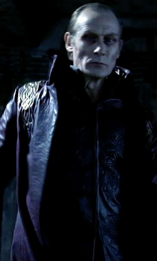"Bill Nighy with Costume Designer (Wendy Partridge) Custom Made ""Viktor"" Long Leather Coat in Underworld"
