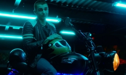Dave Franco with Triumph MY15 Bonneville Motorcycle in Nerve