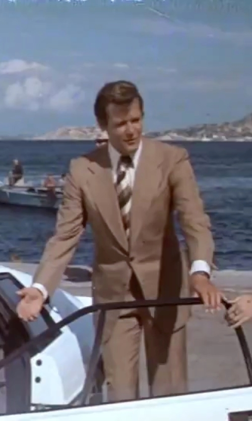 Roger Moore with David Donahue Trim Fit Solid Dress Shirt in The Spy Who Loved Me