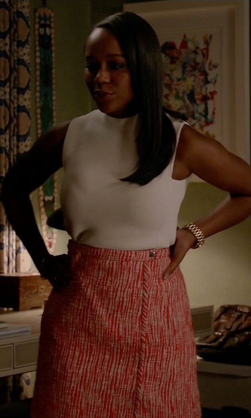 Aja Naomi King with Diane Von Furstenberg Sleeveless Top in How To Get Away With Murder