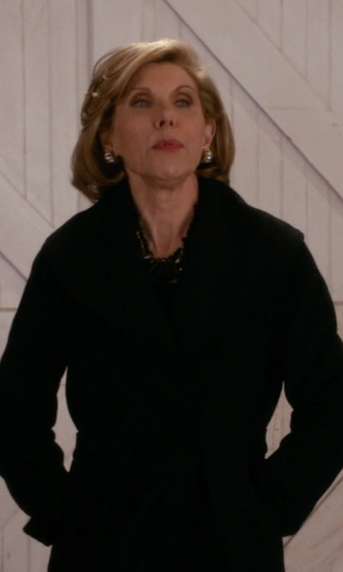 Christine Baranski with DKNY  Long Tailored Wool-Blend Coat in The Good Wife