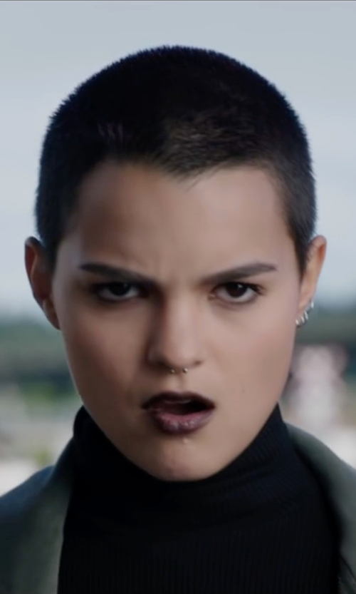 Brianna Hildebrand with Lord & Taylor Sterling Silver Hoop Earrings in Deadpool