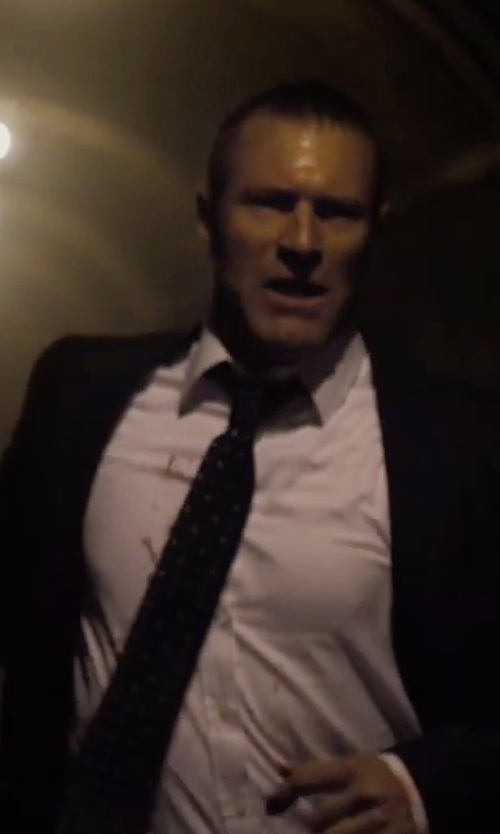 Aaron Eckhart with Ralph Lauren Polka-Dot Silk Satin Tie in London Has Fallen