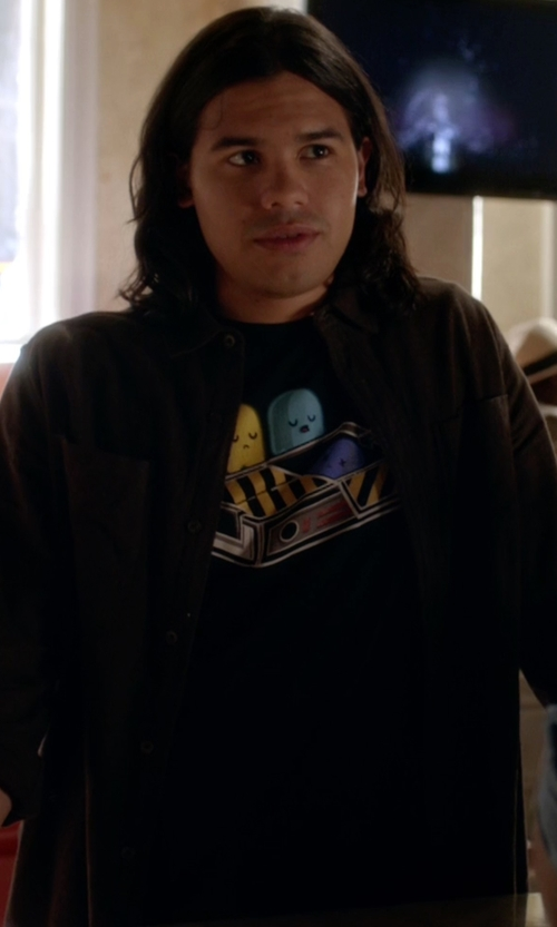Carlos Valdes with Threadless Ghost Busted Print T-Shirt in The Flash