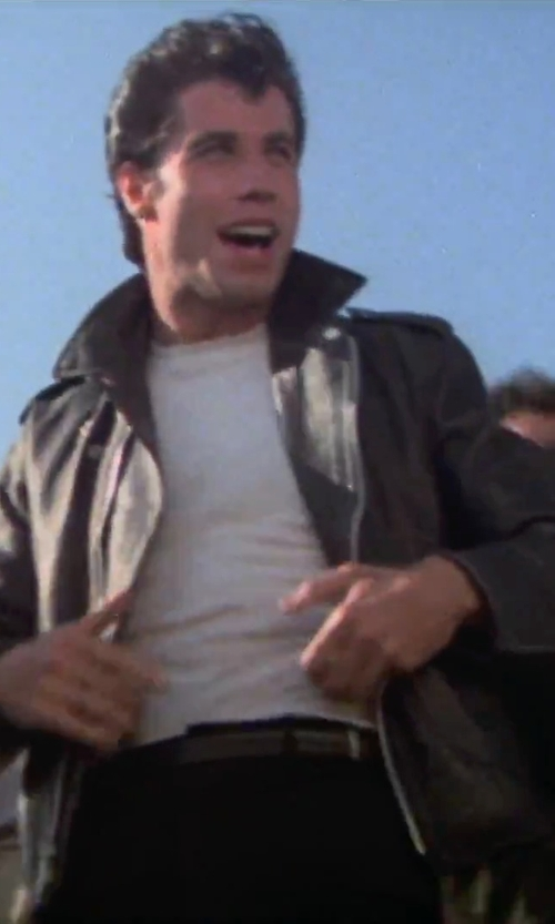 John Travolta with Reclaimed Vintage Leather Biker Jacket in Grease