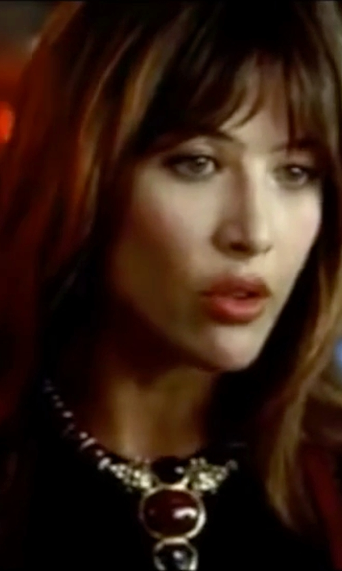 Sophie Marceau with Mikal Winn Jasper Ruby Necklace in The World is Not Enough