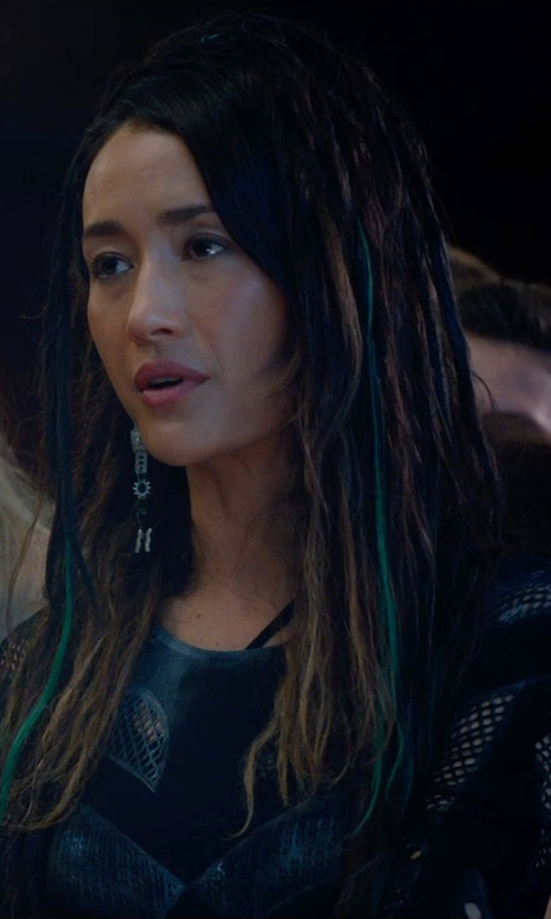 Maggie Q with McQ Alexander McQueen Long-Sleeve Mesh Top in The Divergent Series: Insurgent
