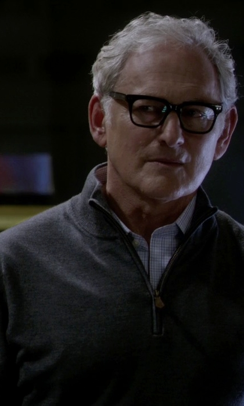Victor Garber with Peter Millar Leather Trim Quarter Zip Pullover Sweater in The Flash