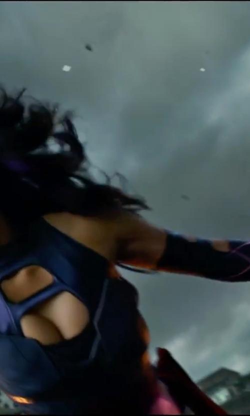 Olivia Munn with Louise Mingenbach (Costume Designer) Custom Made Psylocke Costume in X-Men: Apocalypse