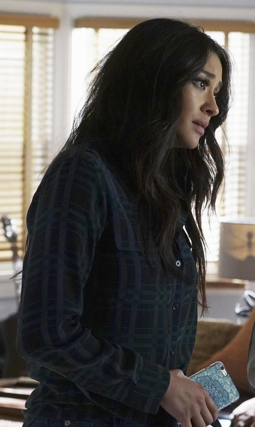 Shay Mitchell with Equipment Daddy Long-Sleeve Plaid Blouse in Pretty Little Liars