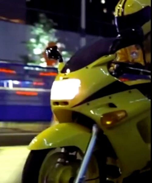 Uma Thurman with Kawasaki ZZR 250 Motorcycle in Kill Bill: Vol. 1