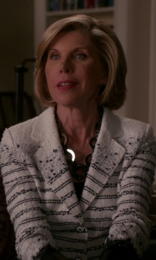 Christine Baranski with L. Erickson 'Madison' Link Station Necklace in The Good Wife