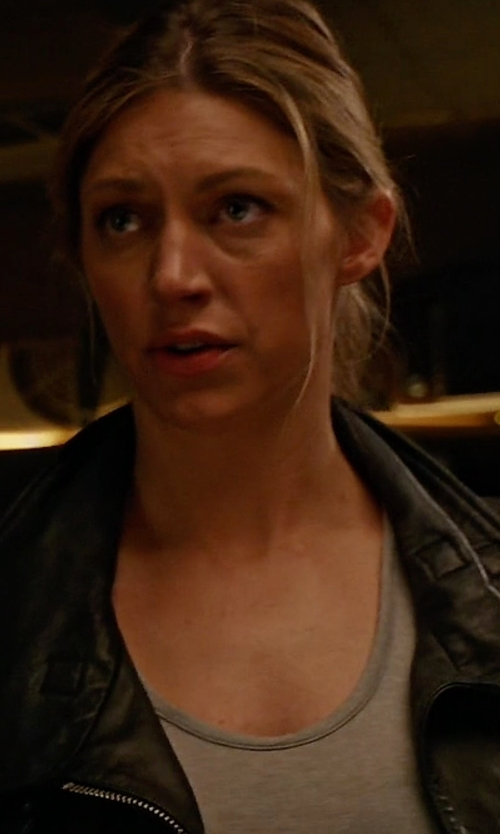 Jes Macallan with All Saints Bales Leather Biker Jacket in Mistresses