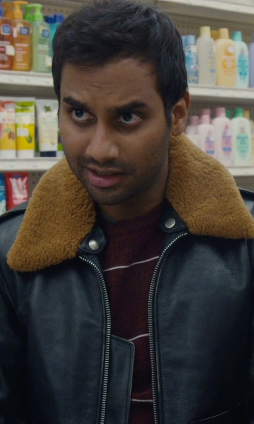 Aziz Ansari with Saint Laurent Shearling Collar Leather Jacket in Master of None