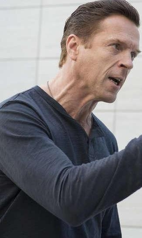 Damian Lewis with Faherty Duofold Cotton-Blend Jaspé Henley T-Shirt in Billions