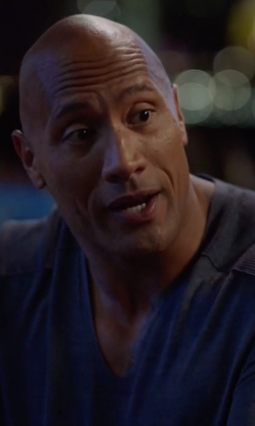 Dwayne Johnson with Private Label Cashmere-Silk V-Neck Sweater in Ballers