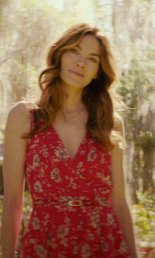 Michelle Monaghan with Ruth E Carter (Costume Designer) Custom Made Floral Sleeveless Wrap Dress (Amanda) in The Best of Me
