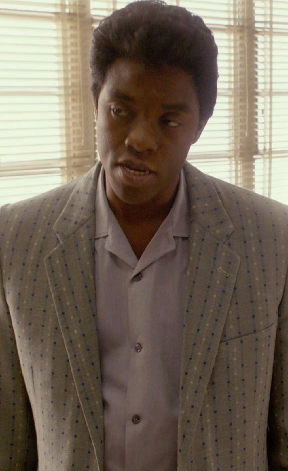 Chadwick Boseman with Hugo Boss 'jenno' Slim Fit Herringbone Dress Shirt in Get On Up