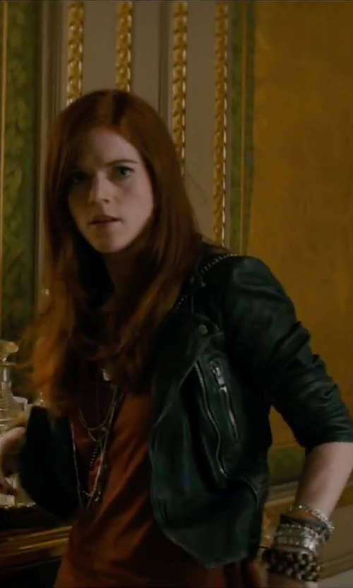 Rose Leslie with Adriana Orsini Caged Three-Strand Faux Pearl Bracelet in The Last Witch Hunter