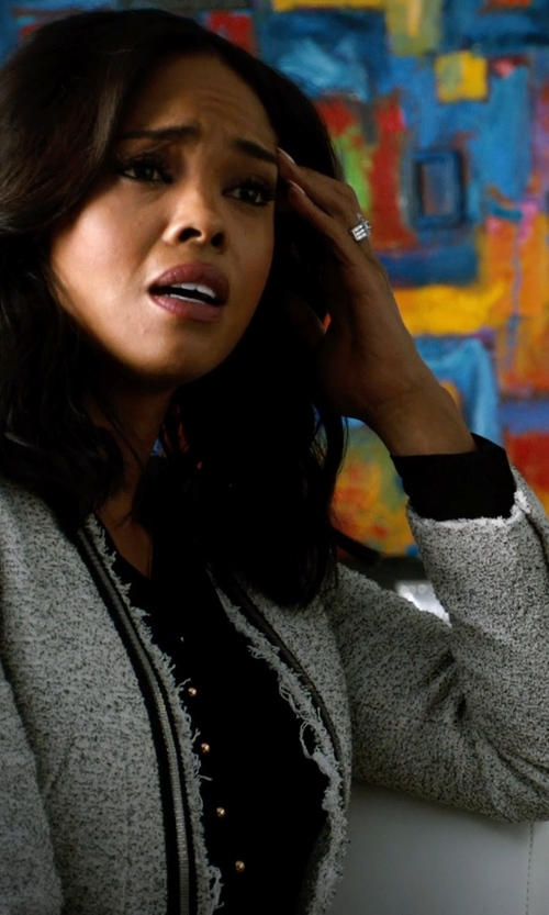 Sharon Leal with Zara Knitted Blazer with Metallic Lapels in Addicted