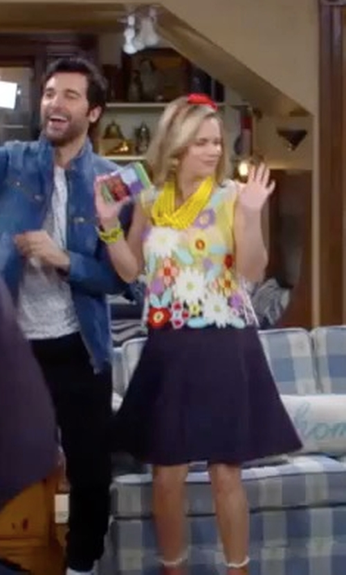 Andrea Barber with Wildfox Couture Flower Crochet Tank Top in Fuller House