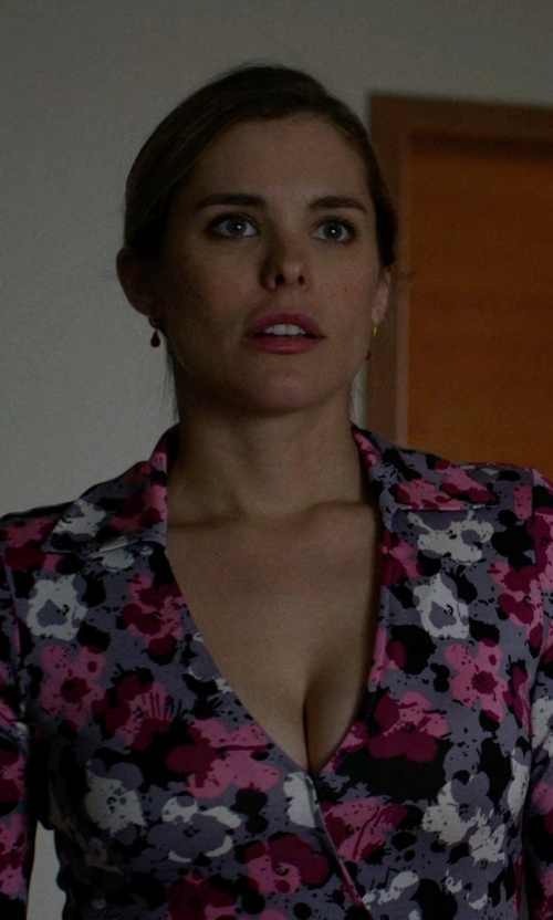 Susie Abromeit with Diane von Furstenberg 'Julian Two' Floral Print Wrap Dress in Jessica Jones