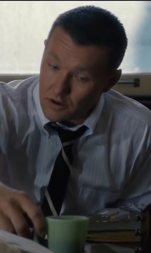 Joel Edgerton with Ralph Lauren Striped Silk Repp Narrow Tie in Life