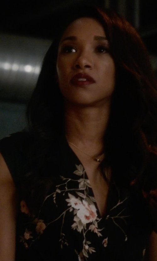 Candice Patton with The Kooples Camellia Dot Floral Silk Zip Tank Top in The Flash