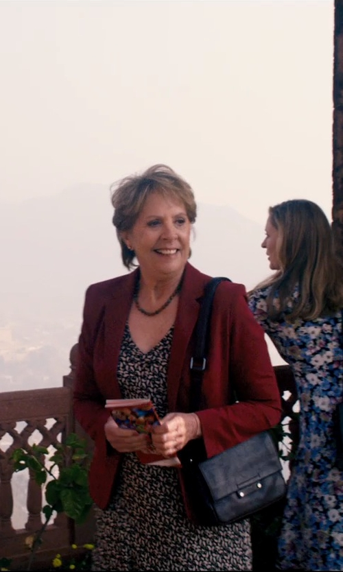 Penelope Wilton with Elizabeth & James Cynnie Mini Calf Hair Crossbody Bag in The Second Best Exotic Marigold Hotel