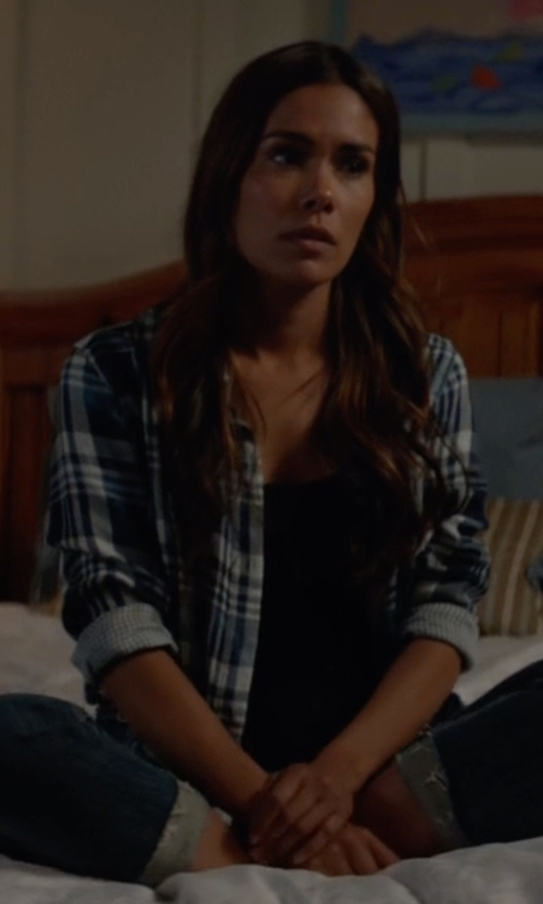 Daniella Alonso with Veronica Beard Poppy Long-Sleeve Plaid Button-Front Shirt in Animal Kingdom