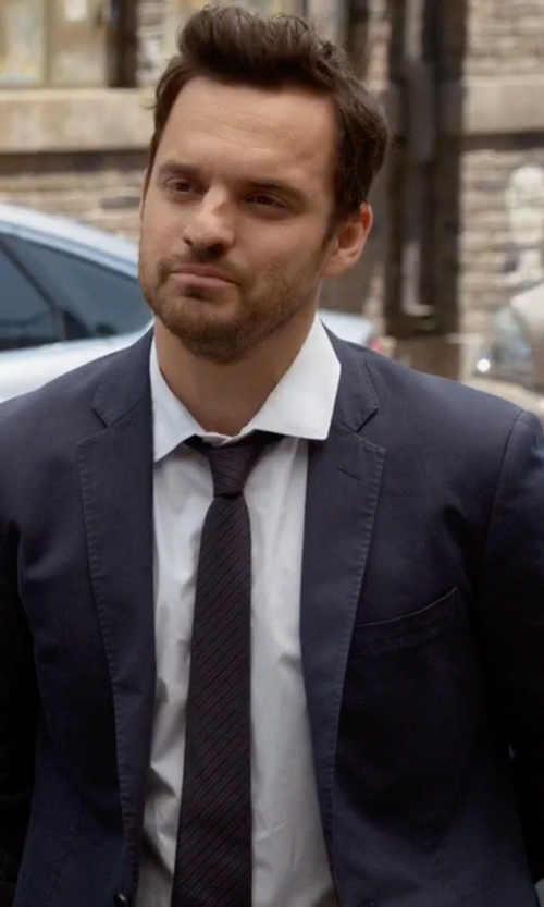 Jake Johnson with Boss Hugo Boss Basic Two-Button Suit in New Girl